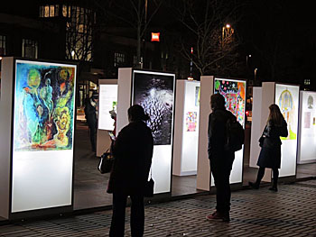 Light boxes in the centre of Stratford